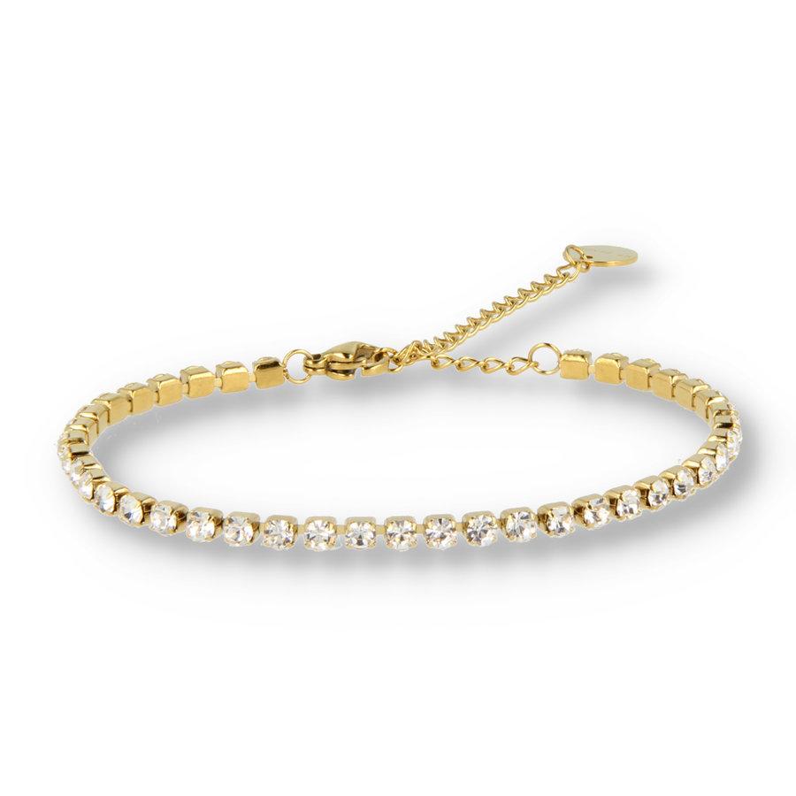 Picolo Gouden schakelarmband met goudkleurige zirkonia