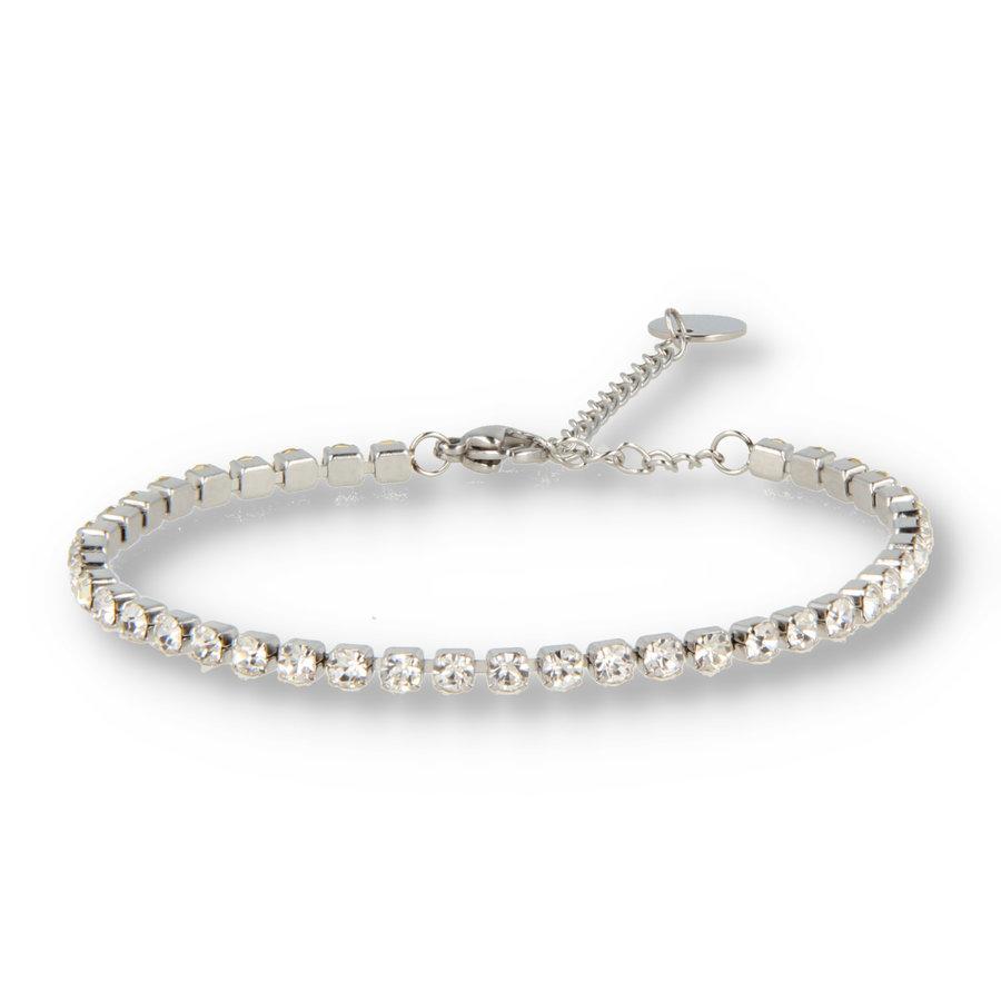 Picolo Zilveren schakelarmband met witte zirkonia stenen