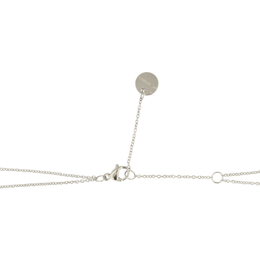 Picolo Double silver necklace with hearts