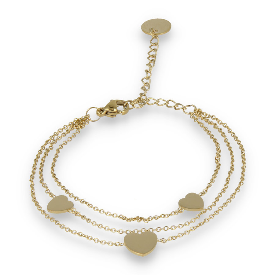 Picolo Triple gold link bracelet with three heart charms