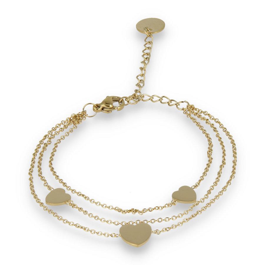 Picolo Triple gouden schakelarmband met drie harten bedels