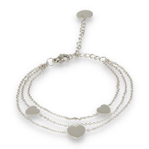 Picolo PO2320 - Triple bedelarmband hart zilver