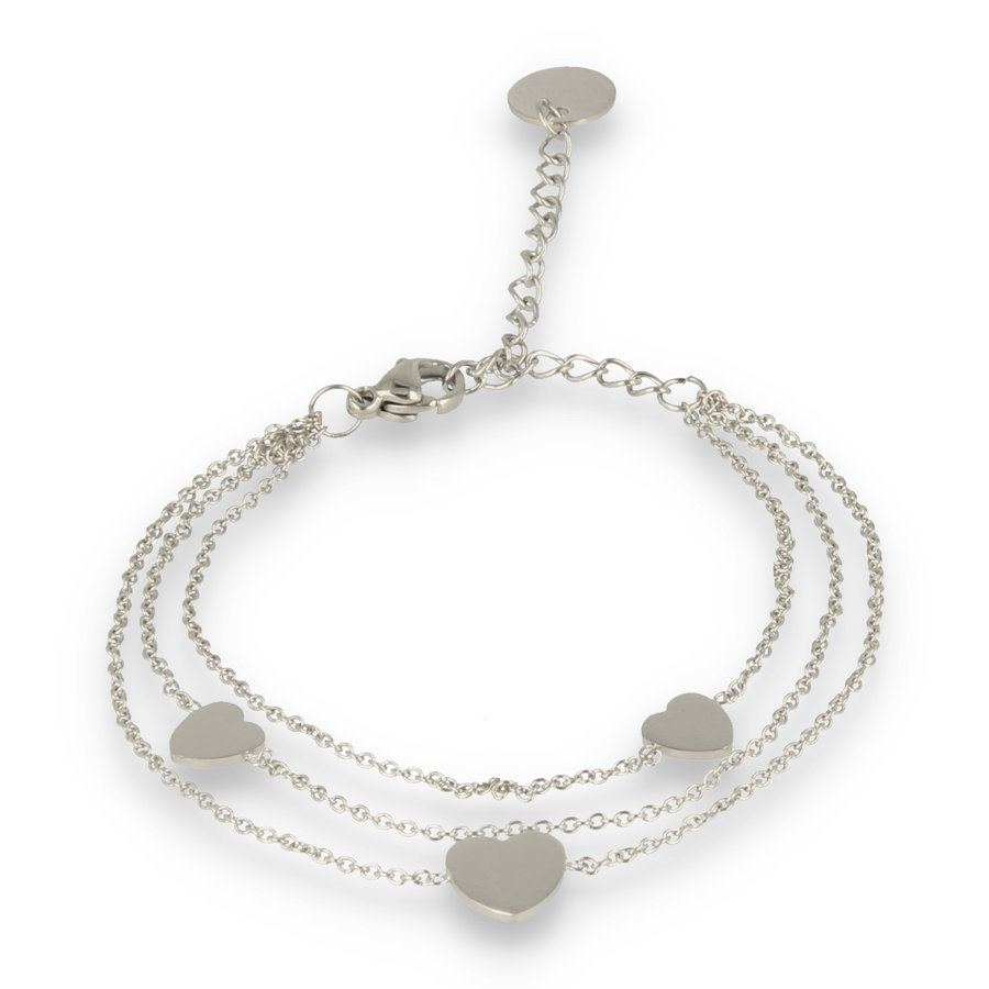 Picolo Triple silver link bracelet with three heart charms