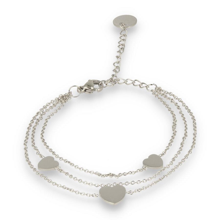 Picolo Triple zilveren schakelarmband met drie harten bedels