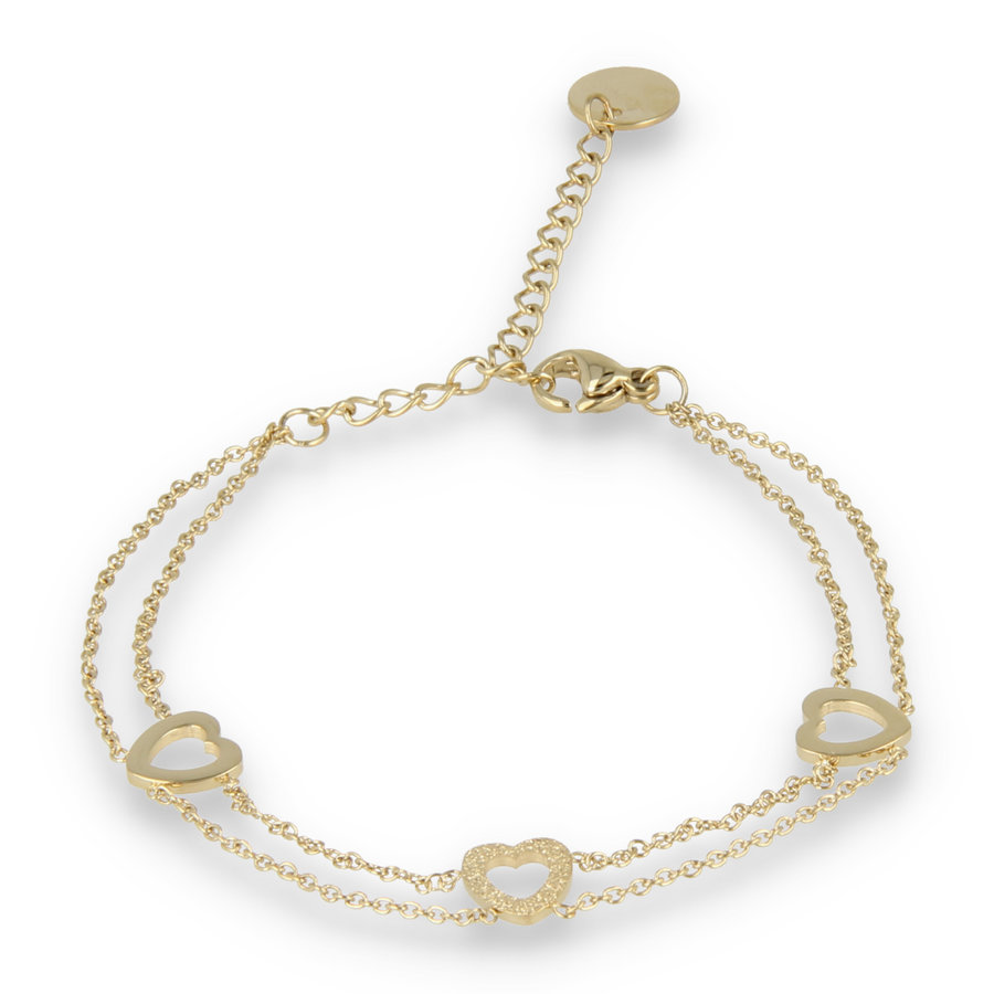 Picolo Double gold link bracelet with three heart charms