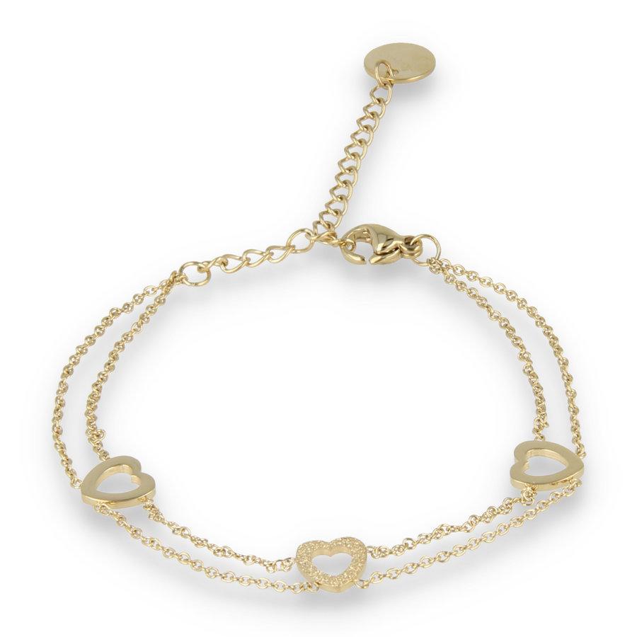 Picolo Dubbele gouden schakelarmband met drie harten bedels