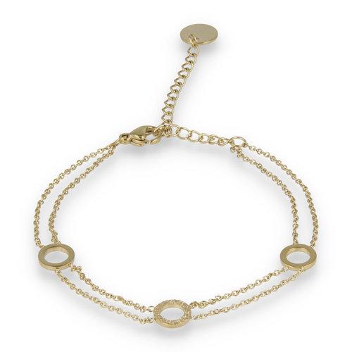 Picolo My Bendel gouden dubbele armband met drie cirkels