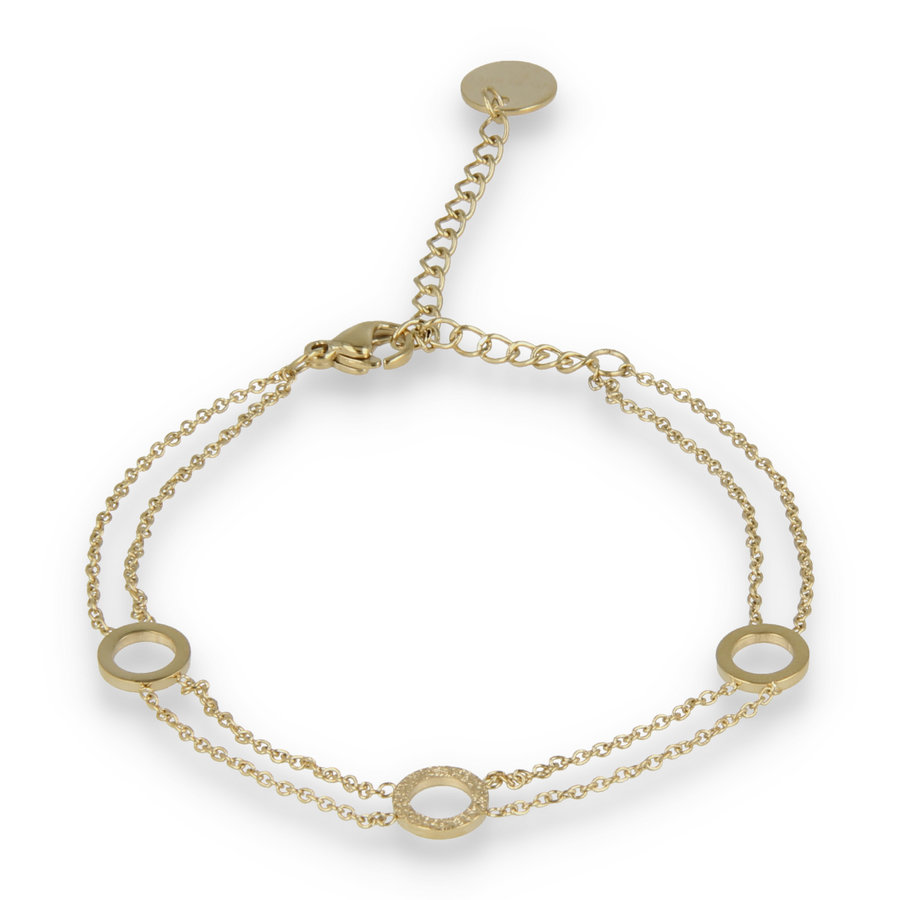 Picolo Double gold link bracelet with three circles