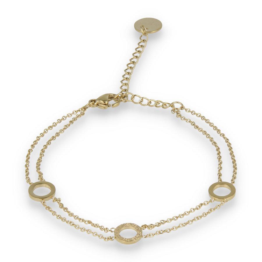 Picolo Dubbele gouden schakelarmband met drie cirkels