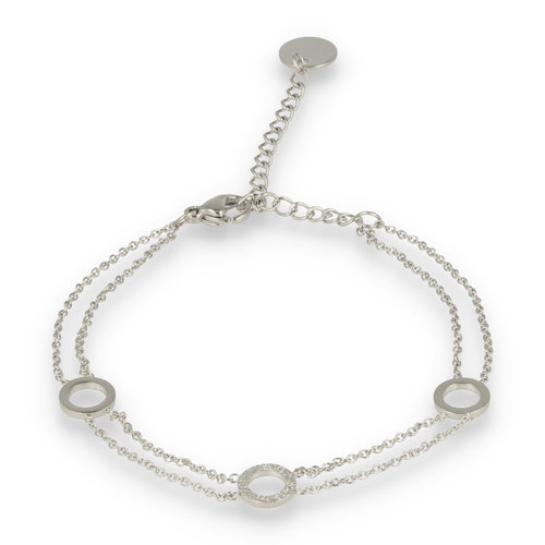 Picolo My Bendel double silver bracelet with circles