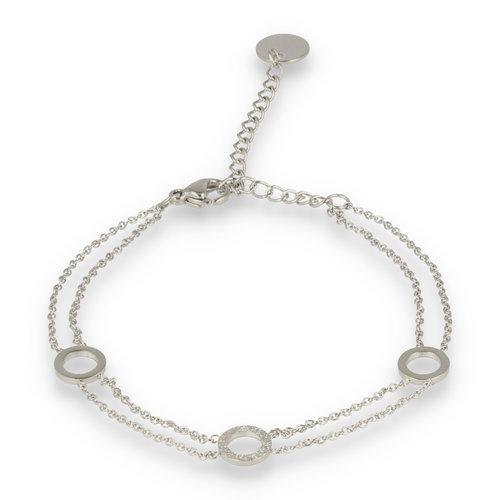 Picolo My Bendel zilveren dubbele armband met cirkels