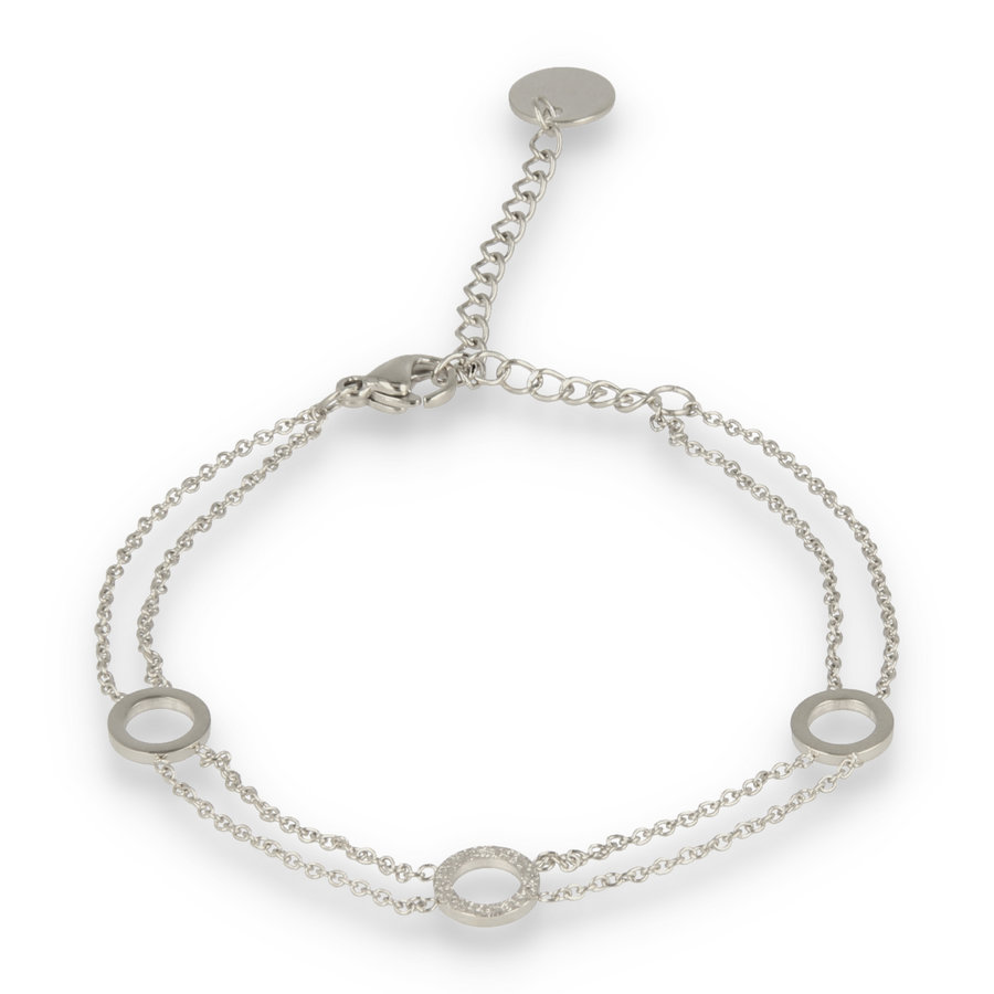 Picolo Double silver link bracelet with three circles