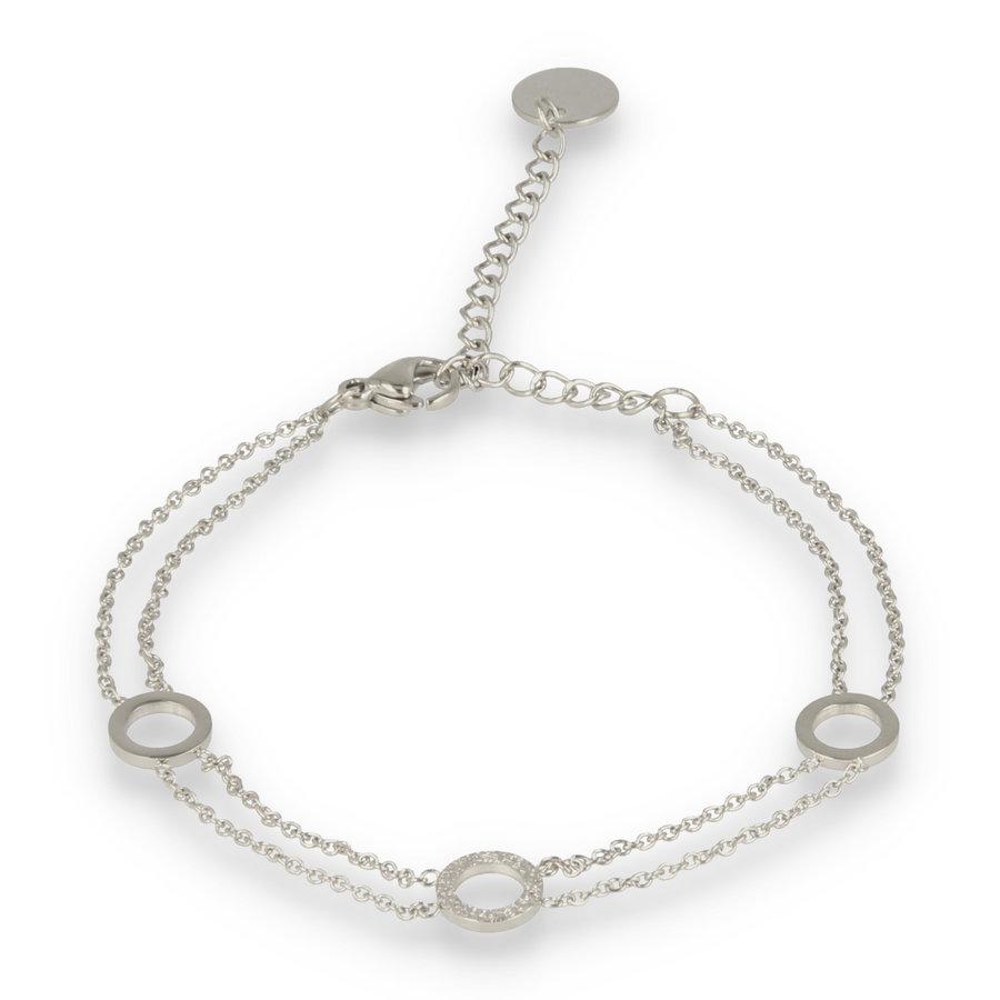 Picolo Dubbele zilveren schakelarmband met drie cirkels
