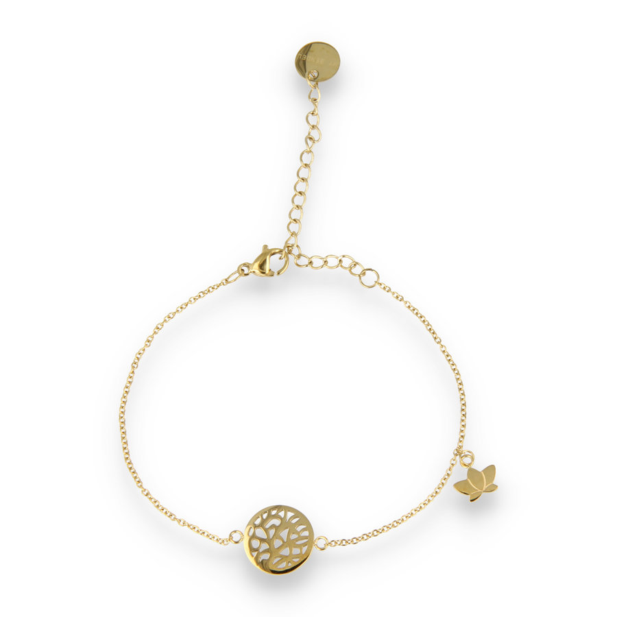 Picolo Nice golden charm bracelet with tree of life and lotus flower