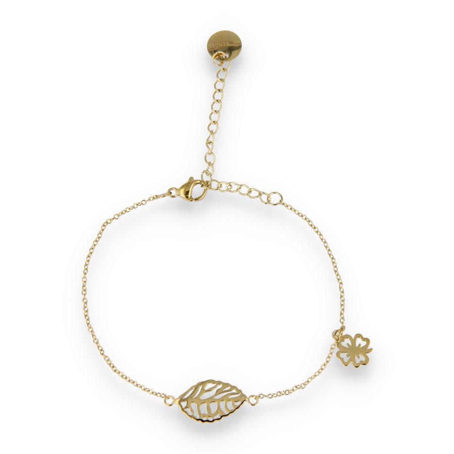 Picolo Geluks armband met gouden klavertje