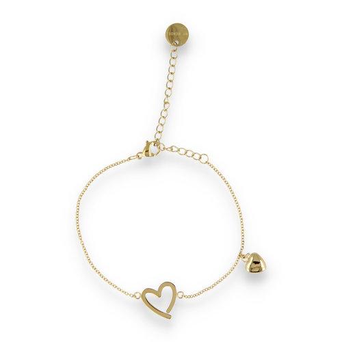 Picolo PO2315 - Gouden bedelarmband hartjes