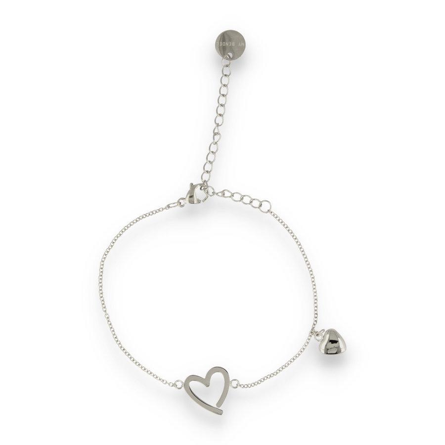 Picolo Zilveren armband met harten bedels