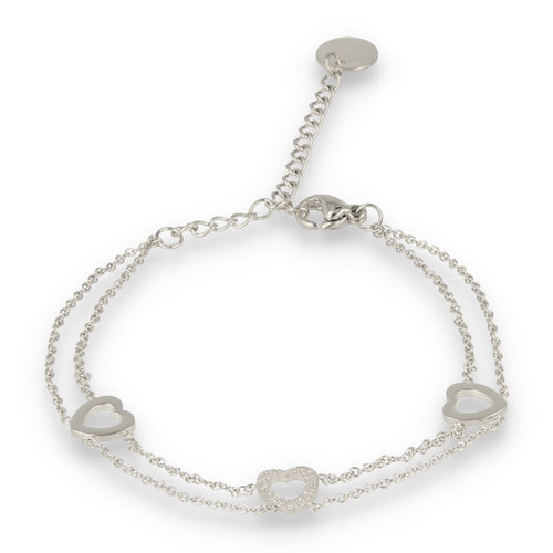 Picolo My Bendel double silver bracelet with heart charms