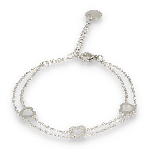 Picolo My Bendel zilveren dubbele armband met harten bedels