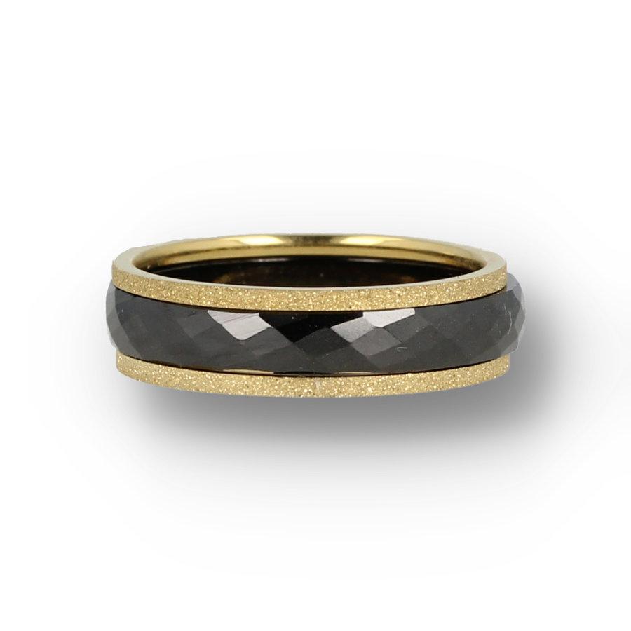Picolo Chique ringenset met zwarte keramieken ring