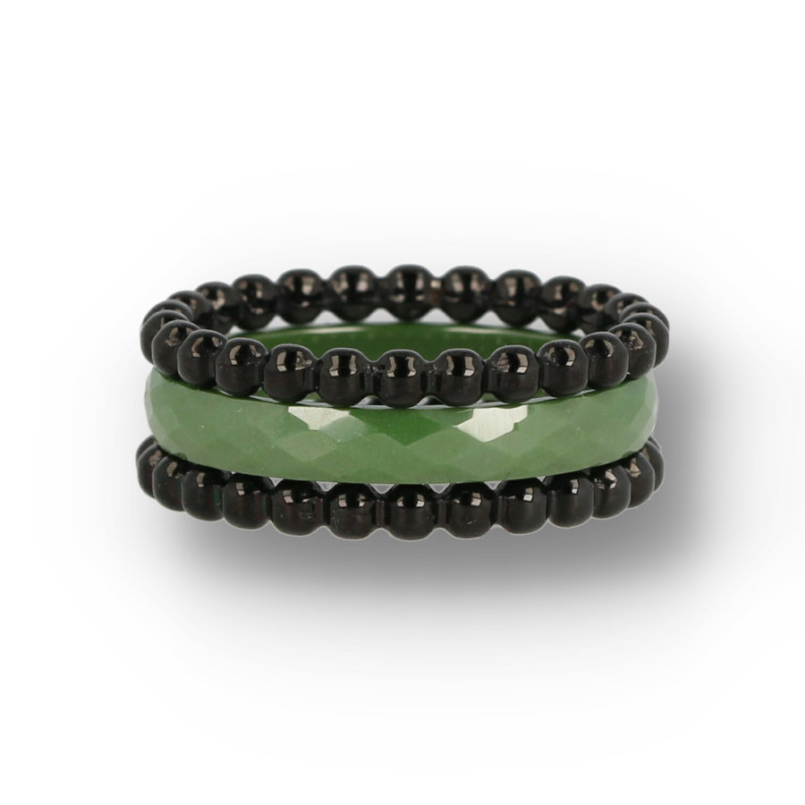 Picolo Ring set with green ceramic ring