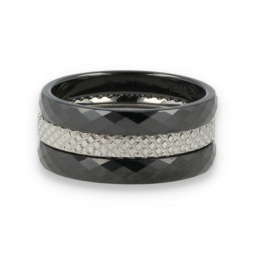 Picolo Ringenset - My Bendel - Zwart Keramiek zilver