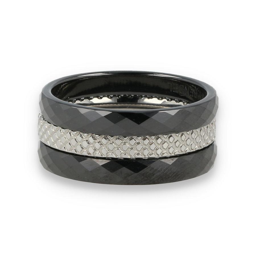 Picolo Ring set - My Bendel - Black Ceramic silver