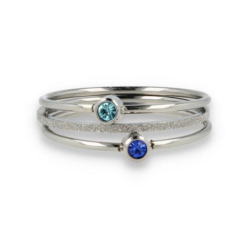 Picolo Ringenset - zirkonia blauw