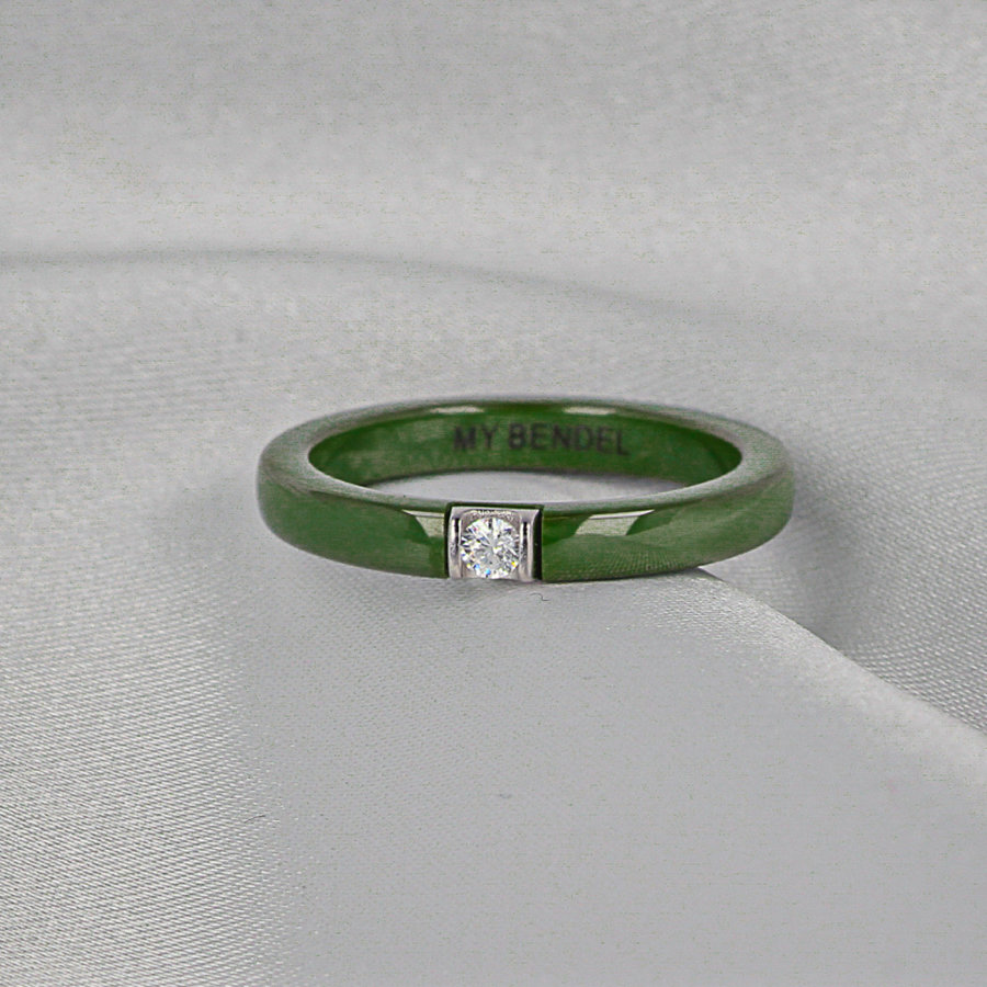 Godina Onbreekbare groene ring met zirkonia