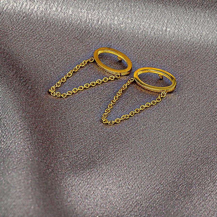 Picolo Ovale silberne Ohrringe mit Kette