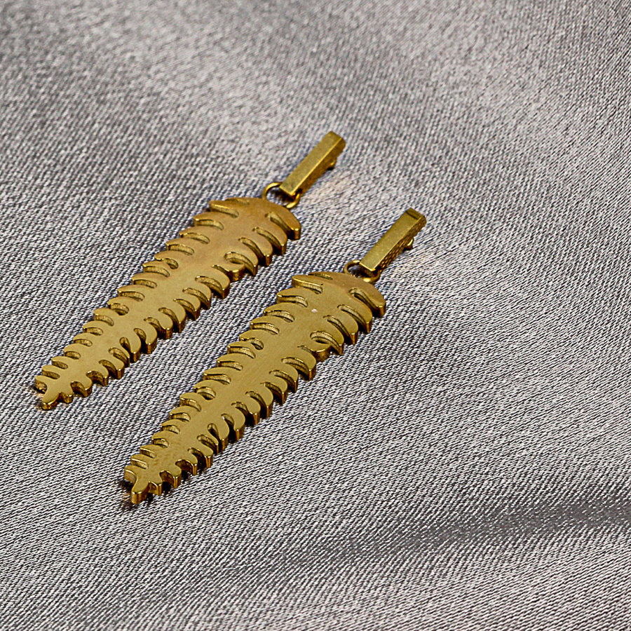 Picolo Gold earrings with feather