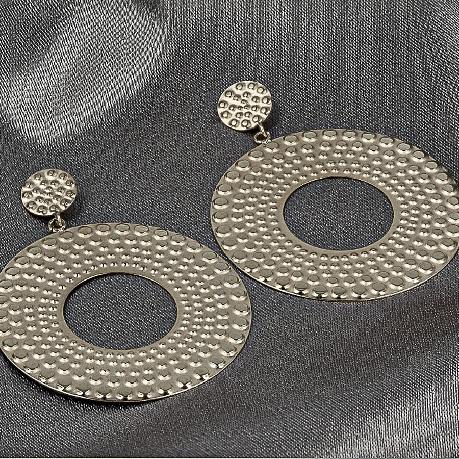 Picolo Silver earrings with round baroque pendant