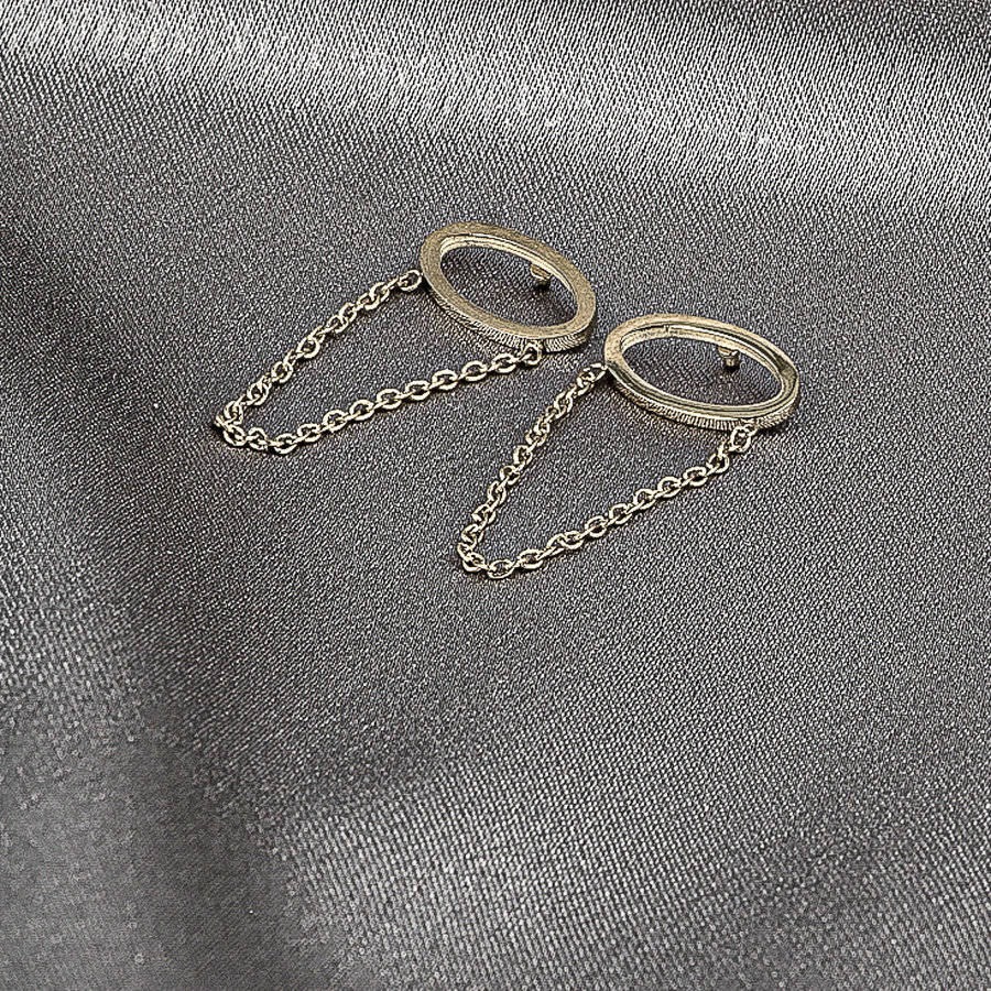 Picolo Ovale goldene Ohrringe mit Kette