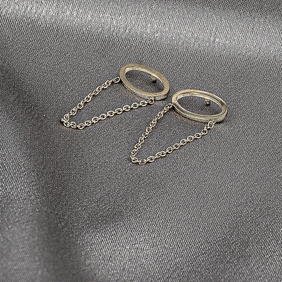 Picolo Ovalen zilveren oorbellen met ketting