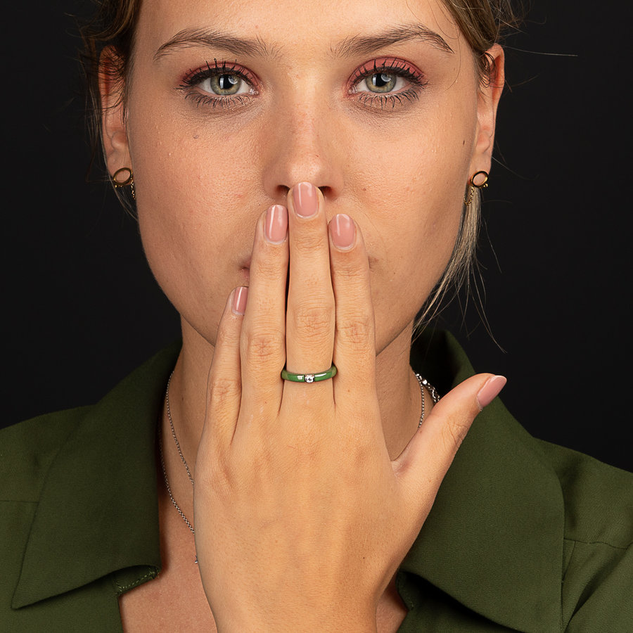 Godina Unbreakable green ring with zirconia