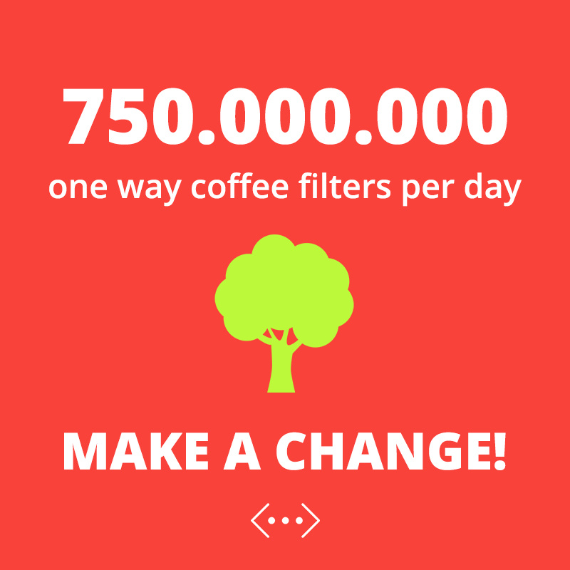 750.000.000 one way coffee filters per day. Make a change!