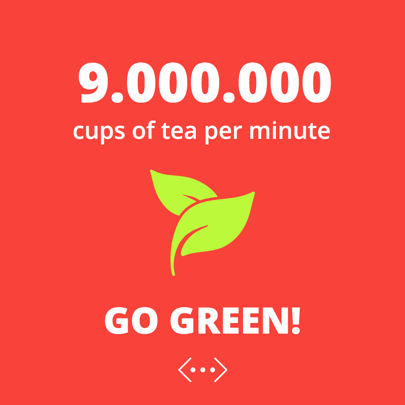 9 Million cups of tea per minute. Go green!