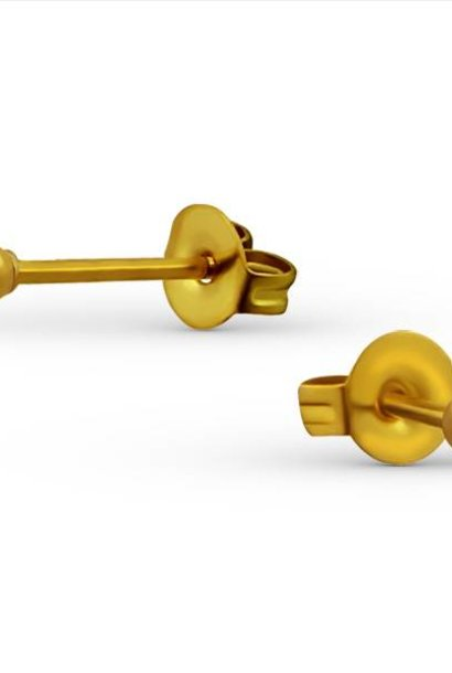 Puristic ball stud earrings made of 925 sterling silver - gold
