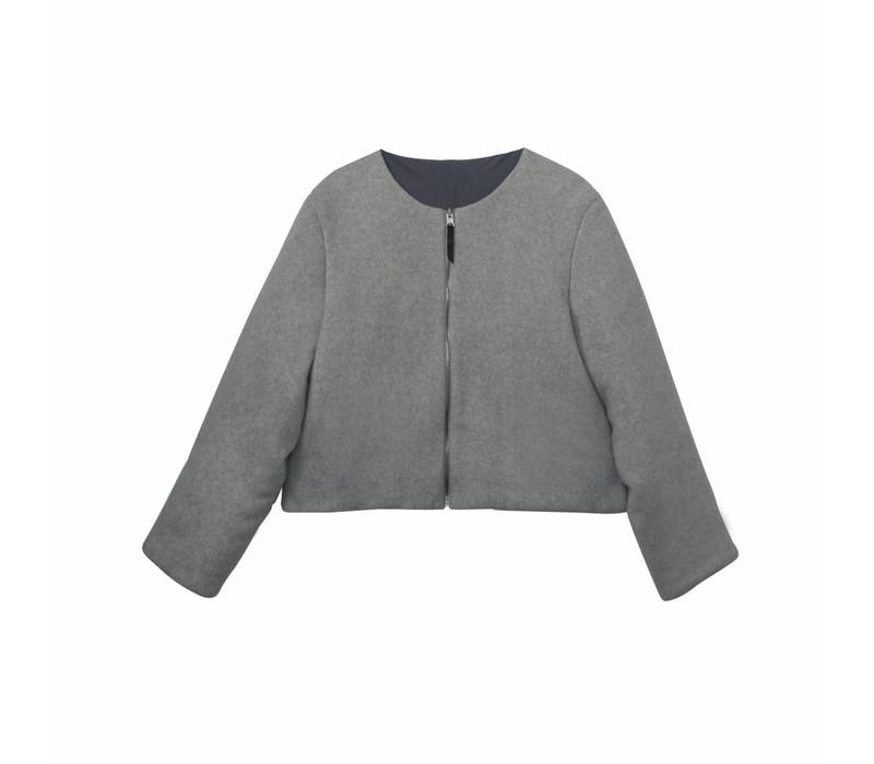 Warm jacket in organic cotton fleece gray