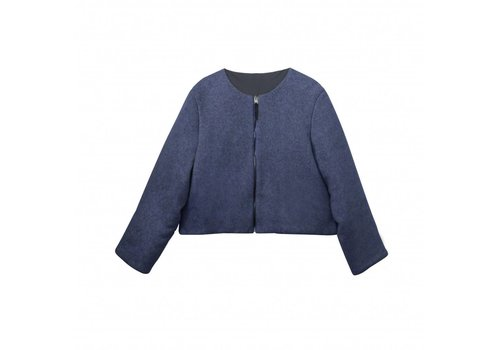 Padded jacket in organic cotton fleece blue