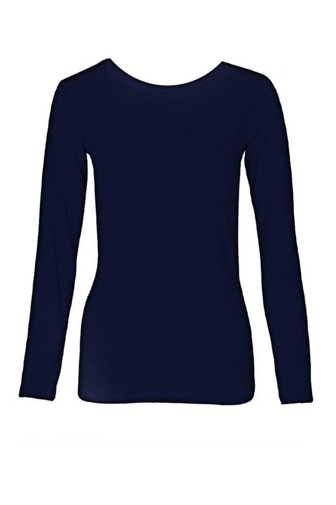 Basic long sleeve shirt made from organic cotton navy-1