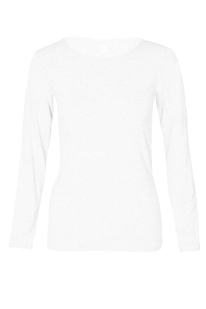 Basic long sleeve shirt made from organic cotton white-1
