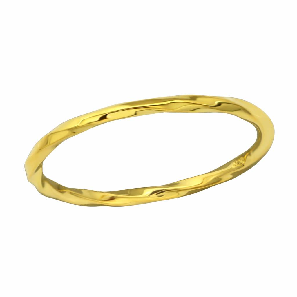 Narrow ring - entwined - 925 sterling silver - gold-1