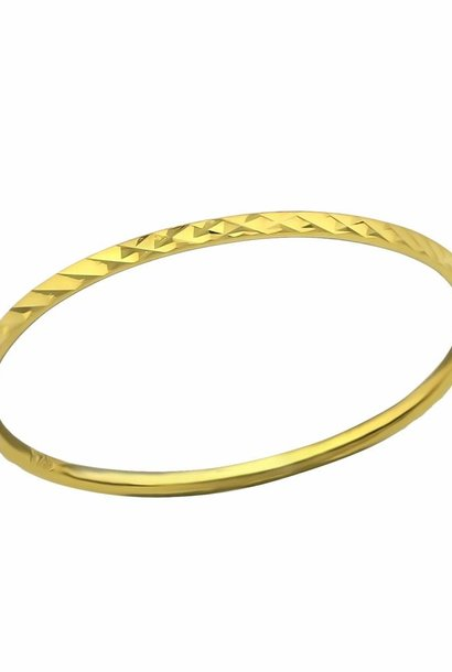 Gold ring with facet cut - 925 sterling silver