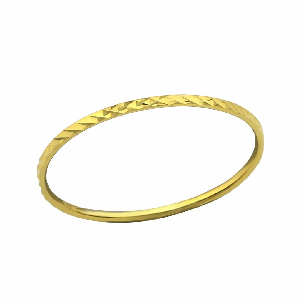 Gold ring with facet cut - 925 sterling silver-1