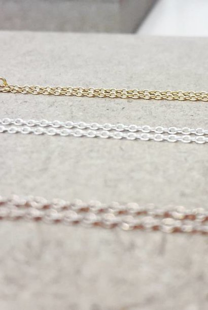 Fine sweater chain - 925 sterling silver - gold