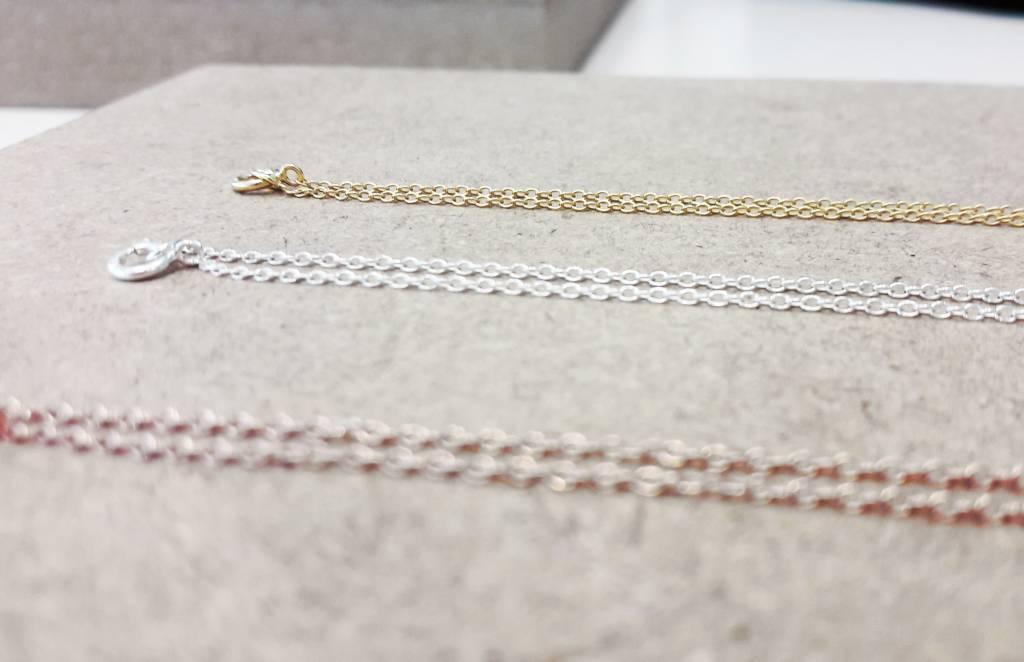 Feine Pulloverkette - 925 Sterling Silber  - Gold-1