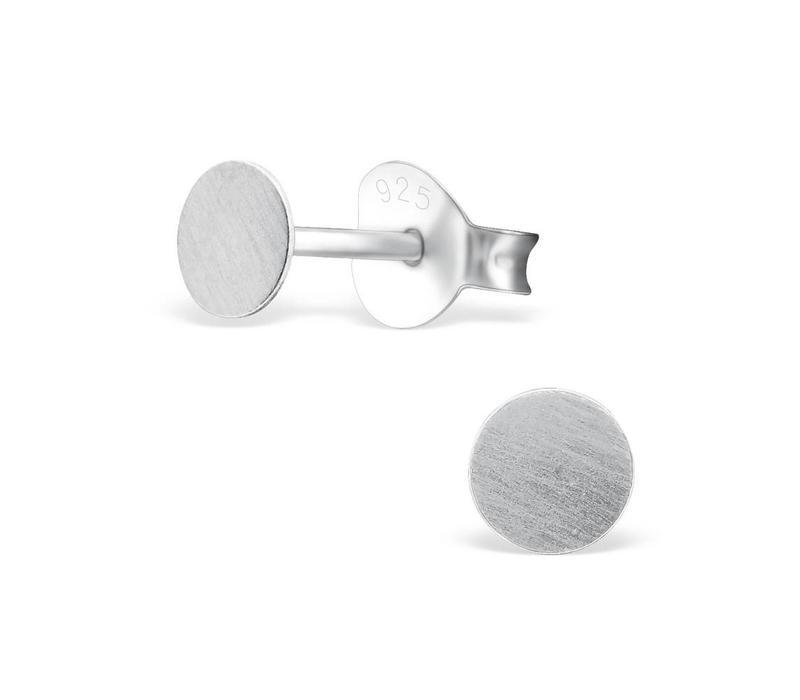 Runde Ohrstecker  - 925er Sterling Silber - matt gebürstet