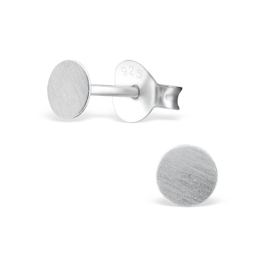 Runde Ohrstecker  - 925er Sterling Silber - matt gebürstet-1