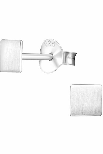 Fine square stud earrings - 925 sterling silver - matt
